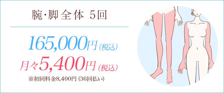 腕・脚全体の医療脱毛5回150,000円