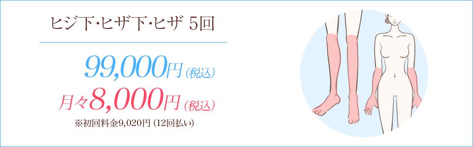 ヒジ下・ヒザ下・ヒザの医療脱毛5回90,000円
