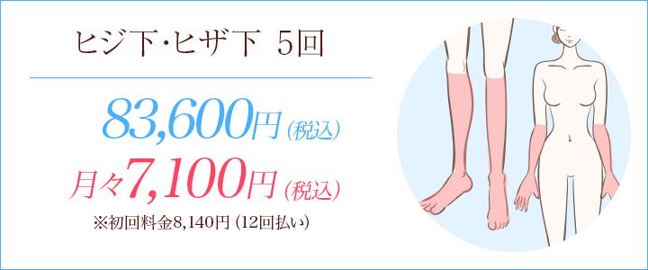 ヒジ下・ヒザ下の医療脱毛5回76,000円
