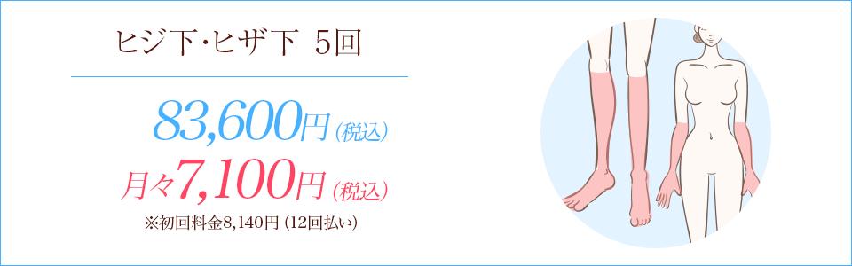 ヒジ下・ヒザ下の医療脱毛5回81,800円