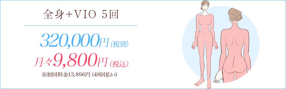 全身医療+VIO脱毛5回348,000円