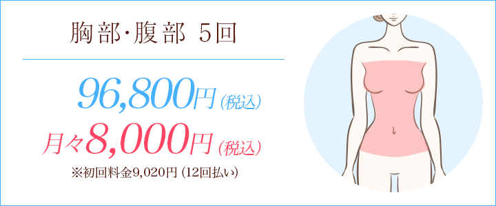 胸部・腹部の医療脱毛5回90,000円