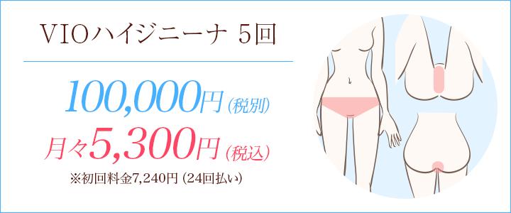 VIOハイジニーナの医療脱毛5回100,000円